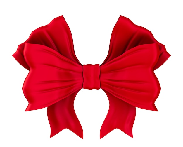 Red bow on white space