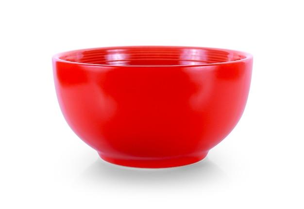 빨간색 그릇 흰색 배경에 고립입니다.