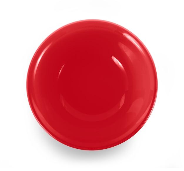 白い背景の上の赤いボウル