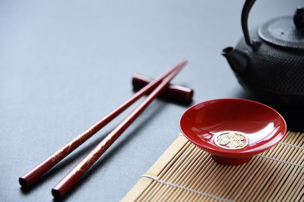 Red bowl and red chopsticks food set oriental