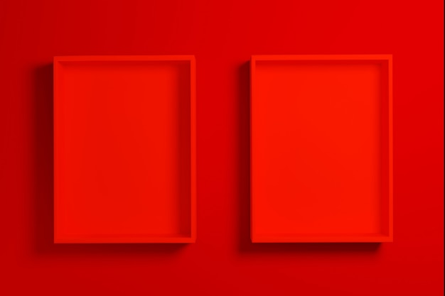 빨간색 배경에 빨간색 상자 또는 트레이 모형, 3d 렌더링.