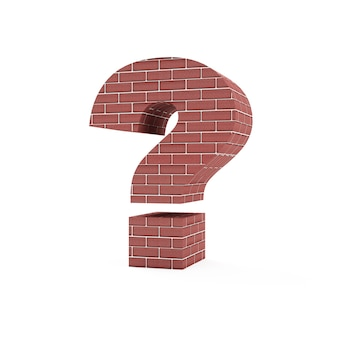 Red brick question mark symbol isolated on white background