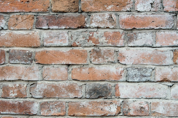 Red brick wall close up, old brick background