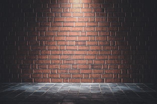 Iesライトと赤レンガの壁のテクスチャ背景