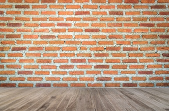 Red brick wall texture grunge background and wooden floor