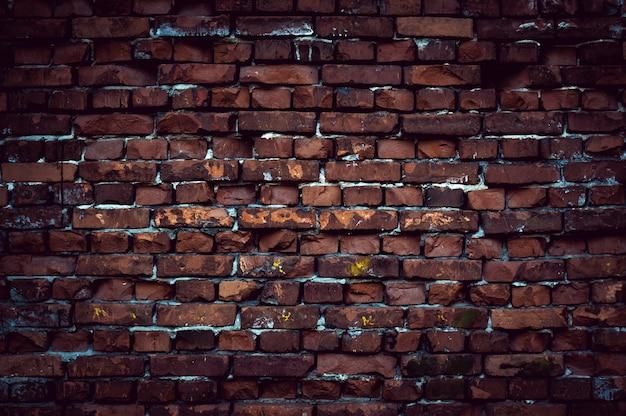 비네팅된 모서리가 있는 붉은 벽돌 벽 텍스처 그런 지 배경, 인테리어 디자인에 사용할 수 있습니다.