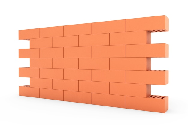 Red brick wall on a white background
