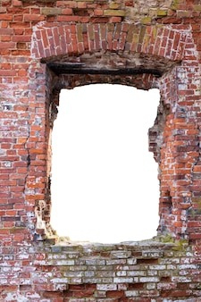 A red brick wall with a hole in the middle. isolated on a white background. high quality photo