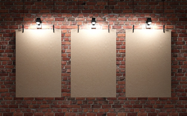 Red brick wall with posters and lights
