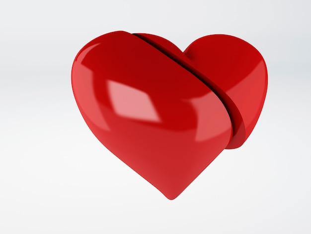 Red broken heart om white background