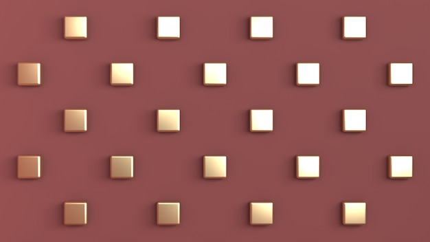 Red-brown color with gold cubes arranged in checkerboard pattern on the back wall