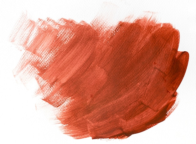 Red brush stroke on white background