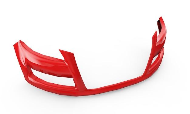 赤いバンパー、白い背景のスペア車。 3dイラスト