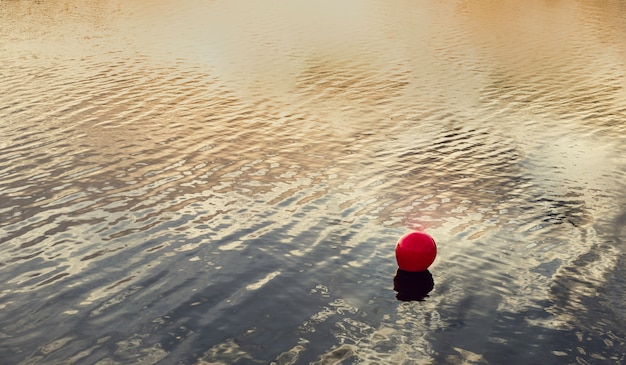 Red buoy marking the bathing area