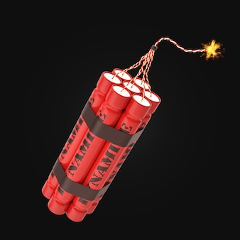 Red burning dynamite isolated