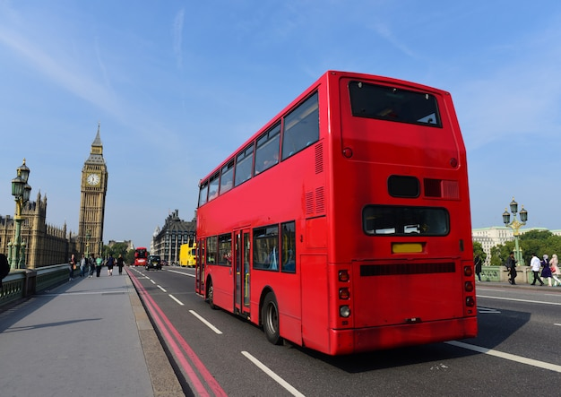 Red bus in london, united kingdom.