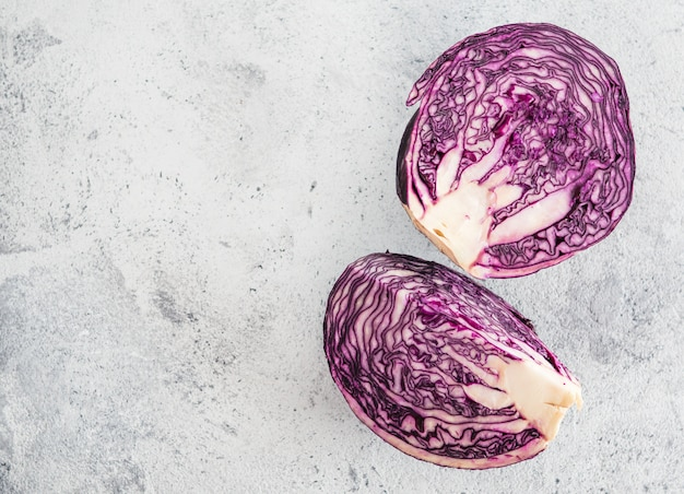 Red cabbage on gray, copy space