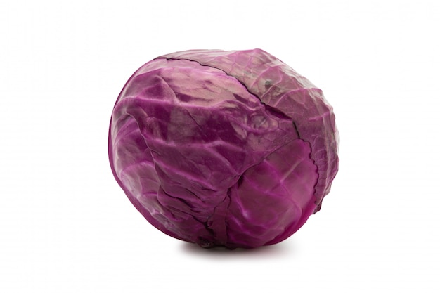 Red cabbage isolated on white background with clipping path.