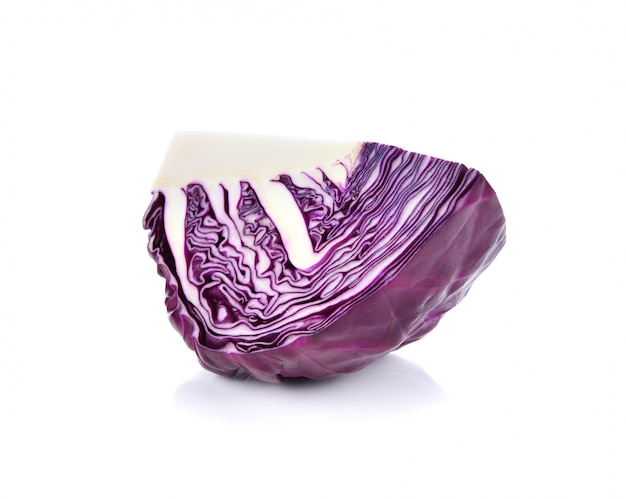 Red cabbage isolated over a white background.