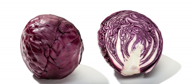 Red cabbage one slice isolated