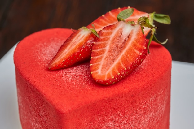 Red cake in the shape of heart on valentine's day