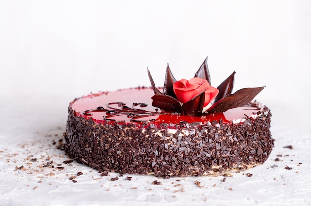 Red cake with rose. valentine's day.