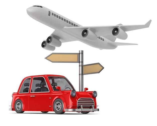 白いスペースに赤い車と飛行機