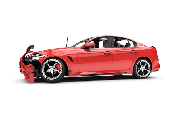 Red car crash on white