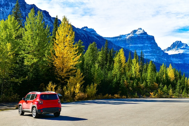 93 icefield parkway canada 도로를 따라 경치를 보기 위해 멈추는 빨간 차