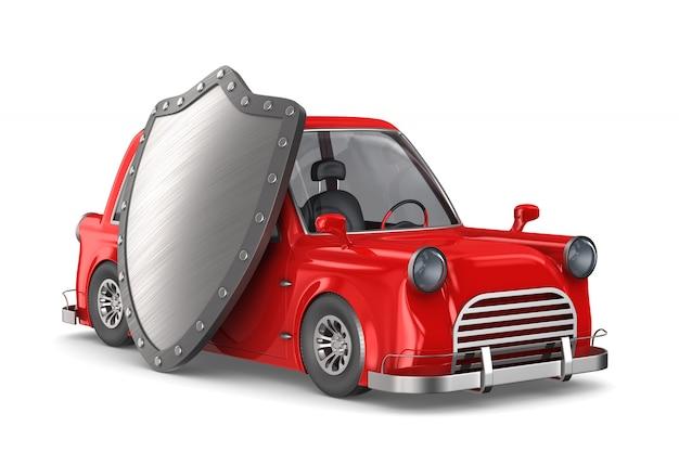 白の盾と赤い車