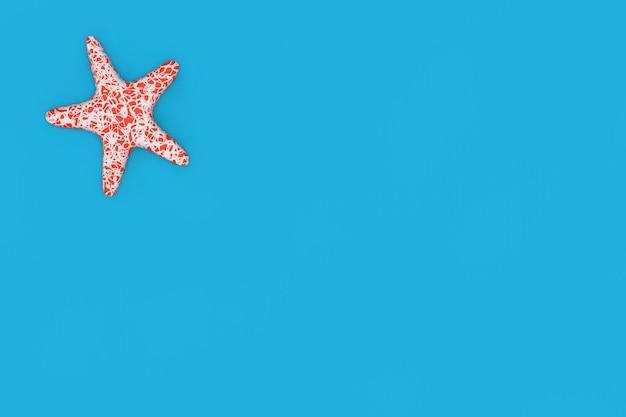 파란색 배경에 빨간색 카리브 불가사리입니다. 3d 렌더링