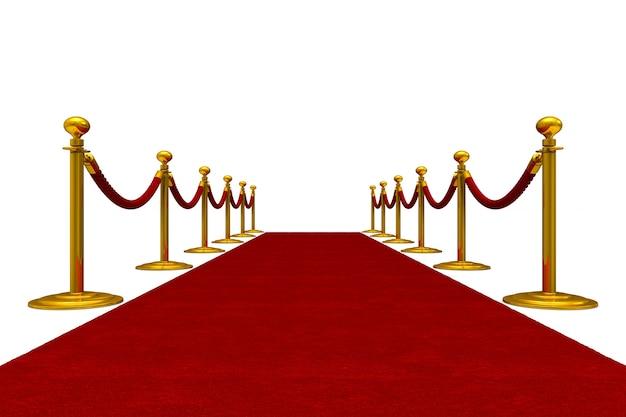 Красная ковровая дорожка и барьерная веревка. изолированный, 3d-рендеринг