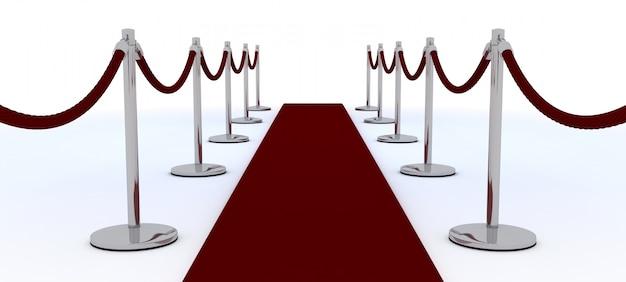 3d визуализации красной ковровой и бархатной веревкой