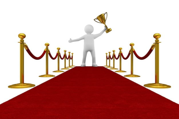 Red carpet and barrier rope. isolated, 3d rendering