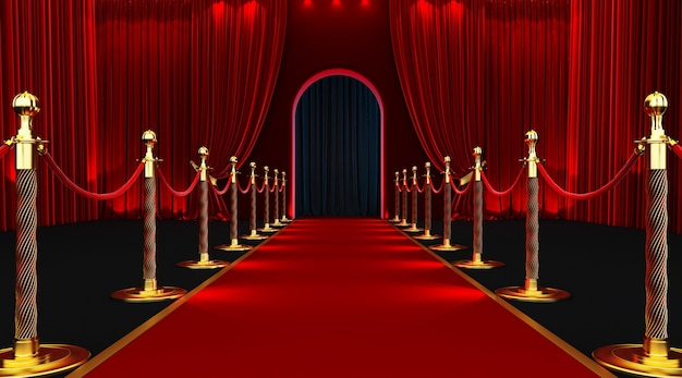 Red carpet entrance with barriers and velvet ropes.