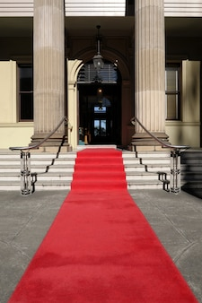 Red carpet in front of luxury hotel