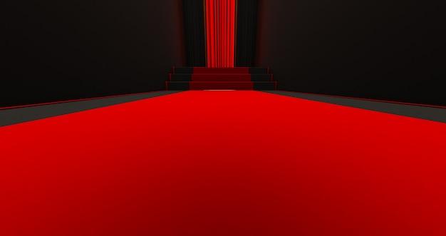 어두운 배경에 계단에 레드 카펫, 영광의 길, 3d 렌더링