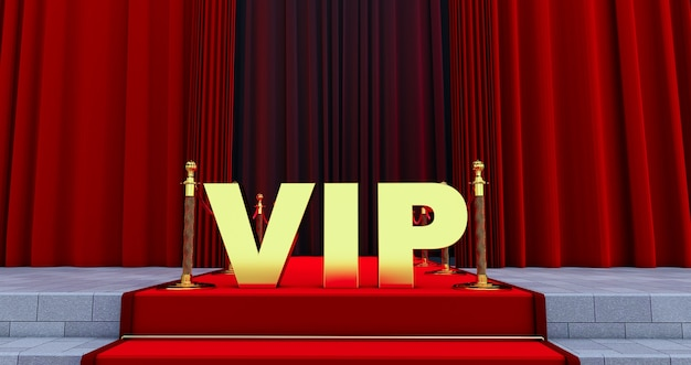黄金のvip単語と階段の上のレッドカーペット。栄光への道。階段が上がる。ビジネスの成功。赤いベルベットのカーペット。