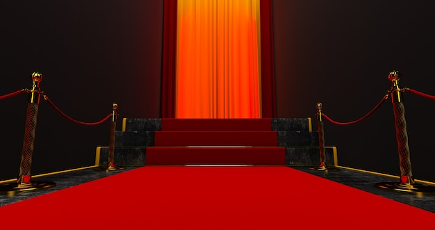 Red carpet on the stairs on a dark background, the path to glory, 3d render