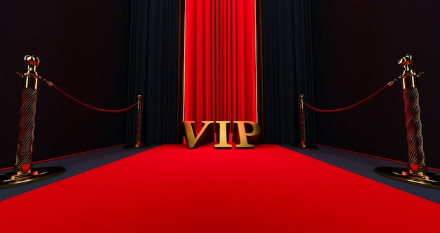 Red carpet on the stairs on a dark background with golden vip word, the path to glory, 3d render