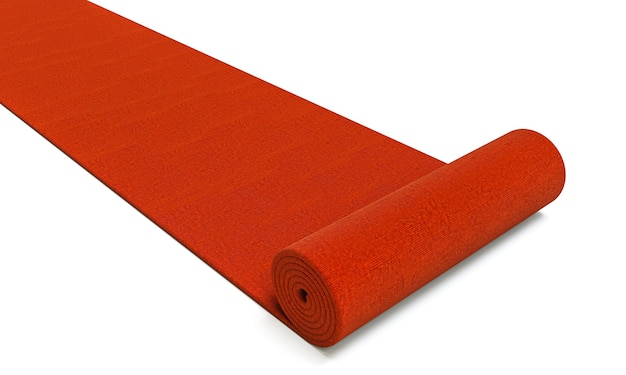 Красная ковровая дорожка, разворачивающаяся на белом фоне. 3d визуализация.