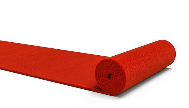 Красная ковровая дорожка на белом фоне. 3d визуализация