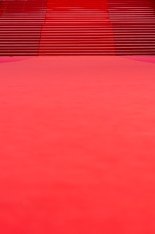 Red carpet with stairs in the background