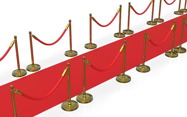 Красная ковровая дорожка со стойками
