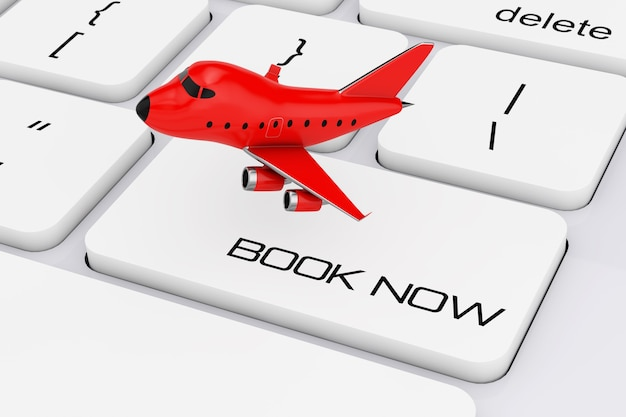 Red cartoon toy jet airplane over computer keyboard with book now sign extreme closeup. 3d rendering.
