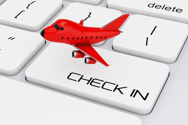 Red cartoon toy jet airplane over computer keyboard with check in sign extreme closeup. 3d rendering.