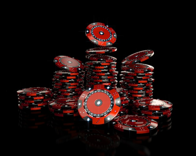 Red casino chips with diamonds on black. 3d render