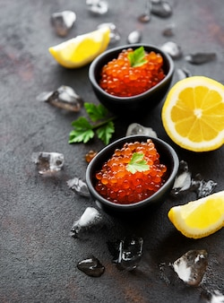Red caviar in bowls