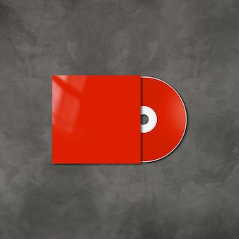 Red cd - dvd label and cover mockup template isolated on concrete