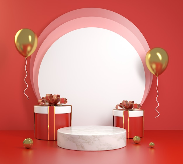 Red celebration podium with gifts box set 3d render